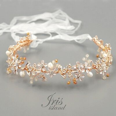 Freshwater Pearl Bridal Hair Vine Wedding Headband Headpieces Tiara 52 ROSE GOLD