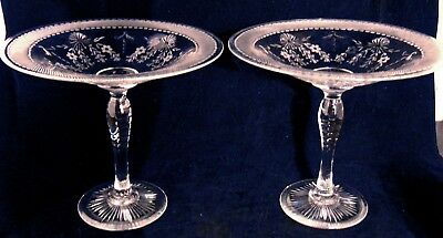 2 Cambridge Pairpoint Glass ANTIQUE ENGRAVED Intaglio TAZZAS Compotes Comport
