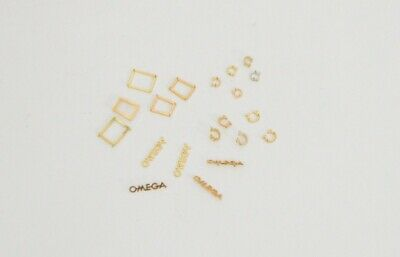 Omega Lot 18K Gold Watch Dial Logos Words & date windows frames for Watchmakers
