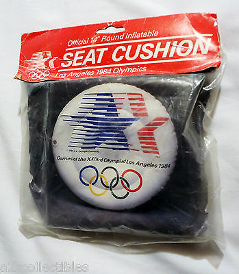 "Official 1984 La Los Angeles Ca Olympics 14"" Round Inflatable Seat Cushion Retro"