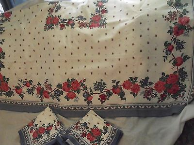 """Floral Tablecloth 54"""" x 54"""" with 18 Napkins, Cotton/Poly, Sunweave Linens"""