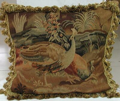 French Goblin Tapestry STYLE Peacock Design Handmade Large Pillow Cover 22″x24""