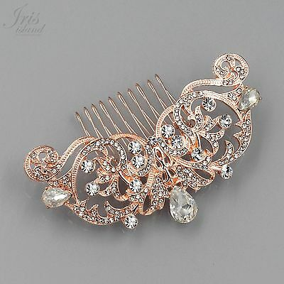 Bridal Hair Comb Crystal Headpiece Hair Clip Wedding Accessory 05324 ROSE GOLD