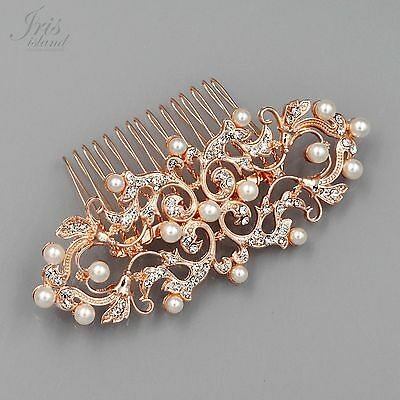 Bridal Hair Comb Pearl Crystal Headpiece Wedding Accessories 05339 ROSE GOLD New