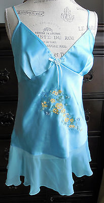 Nwot Bright Blue W/Yellow Flowers & Jewels Secret Treasures Chemise Nightgown S