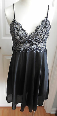 Euc Soft Black With Black And Silvery Lace Petra Fashions Nylon Nightgown S
