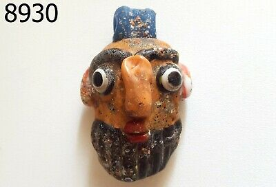 RARE Phoenician Style Eyes Orange Face Head Mosaic Glass Bead Pendant #8930