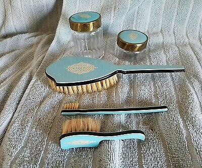 "5 Piece Art Deco ""DUPONT"" Celluloid Dresser Set(3)BRUSHED(2)GLASS DRESSER JARS"