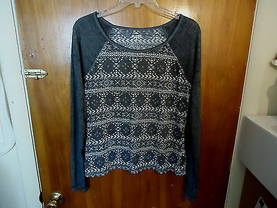 """Womens / Girls Mudd Size L Long Sleeve Gray / White Top """" GREAT TOP """""""