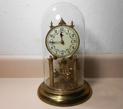 SCHATZ Glass Dome Clock Brass Germany Key Mantel Shelf Collectible Works