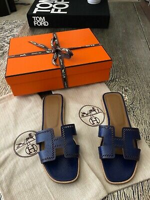 e30802be227a AUTHENTIC HERMES WOMENS Oran Leather Sandals Orange Size 39 W ...