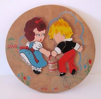Vintage Jack and Jill Nursery Wood Wall Hanging, Plaque, Mother Goose Fairy Tale