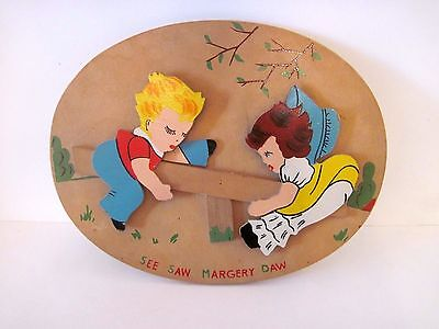 Vintage See Saw Margery Daw Nursery Wood Wall Hanging, Plaque, Mother Goose