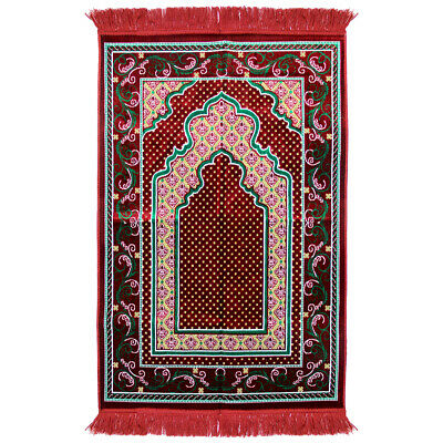 Islamic Muslim Prayer Rug 3.6' x 2.3' Red Green Yellow Color with Red Tassels