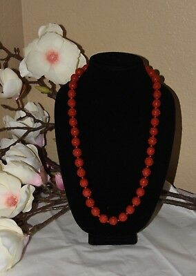Vintage Chinese Hand-Carved Lacquer Red Cinnabar Flower Necklace 31""