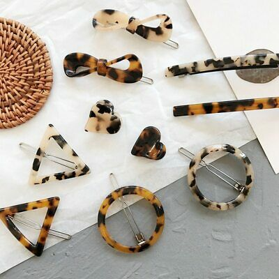Vintage Leopard Amber Acrylic Hair Clips For Girls Round Triangle Heart Hairgrip
