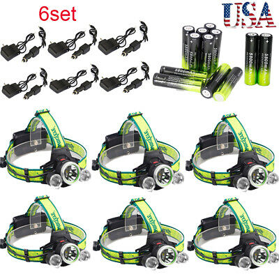 6Set Tactical 3X T6 LED 50000LM Rechargeable Headlamp Torch+Battery+Charger lot