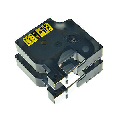 2PK Black on Yellow 12mm 45018 Label Tape Compatible With DYMO LabelManager 120P