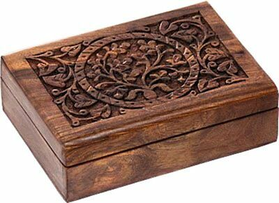 7 Inch Wooden Jewelry Box Trinket Small Chest Storage Case Home Decor Girls Gift