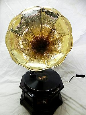 Antique Octagonal Gramophone Phonograph Fully Functional With Crafted Brass Horn