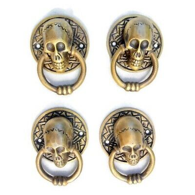4 small SKULL head handle DOOR PULL ring natural cast BRASS old style 5 cm 2""