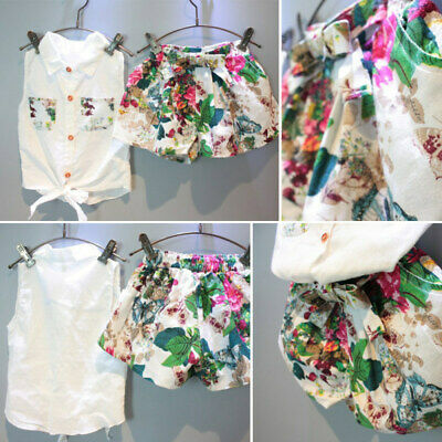 Girls Clothes T-Shirt Tops+Short Pants Kids Baby Toddler Casual Outfits 2PCS DRR