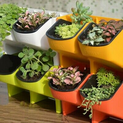 2 Pocket Self Watering Stackable Vertical Garden Wall Hanging Flower Planter