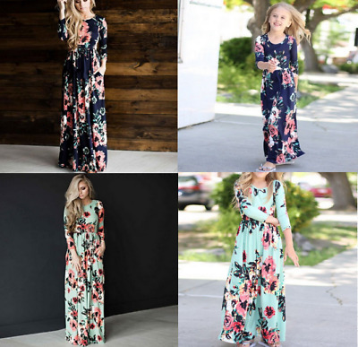 18e77a66ea Womens Girls Floral Print Maxi Dress Matching Clothes Mother Daughter  Holiday