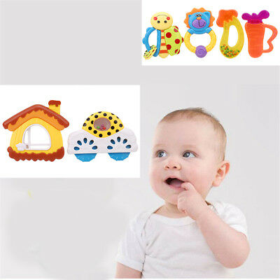 4x Baby Rattle&Teether Teething Pacifier Hand Bell Developmental Toy Xmas Gifts