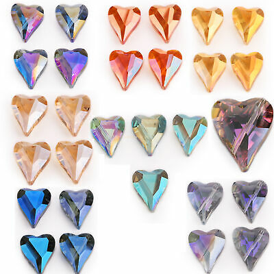22x18mm Faceted Glass Crystal Heart Spacer Loose Beads DIY Jewelry Necklace 5Pcs