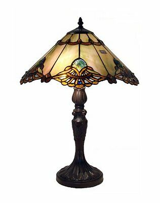Tiffany Style Table Lamp Light Bronze Stained Glass Jewel Handcrafted Elegant