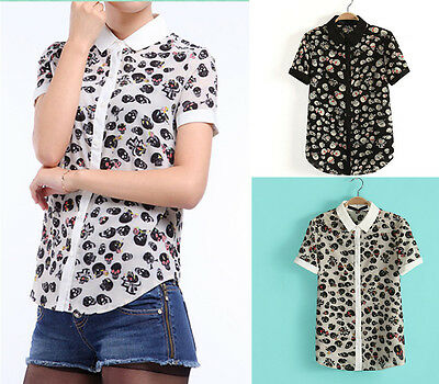 ROCKABILLY Tattoo Skull Print Women's Goth Emo Punk Rocker Bowling Shirt BNWT