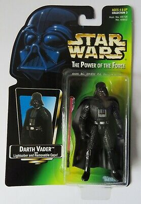 1997 Hasbro Star Wars POTF Darth Vader Figure with Lightsaber & Removable Cape