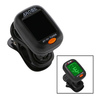 Digital Clip-On Tuner For Acoustic Electric Guitar Bass Violin Fancy New Black