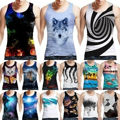 Mens Tank Top Casual 3D Print Patterns Sleeveless Gym Vest Fitness Graphics Tees