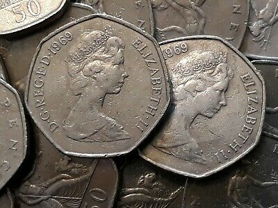1969 BRITANNIA. Large Old 50p. Fifty pence. Circulated
