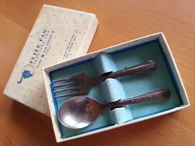PETER PAN Silverplated Baby Spoon and Fork - ca. 50er Jahre aus USA
