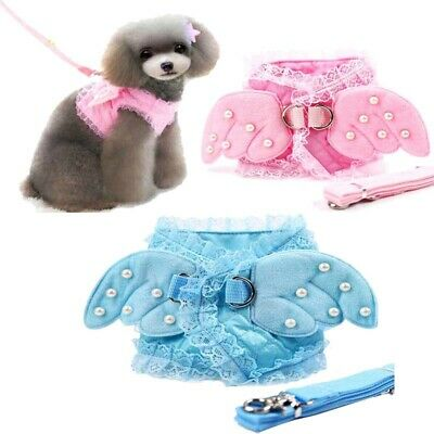 Small Pet Dog Puppy Harness Angel Wings Vest Cat Soft Control Leash Walk Strap