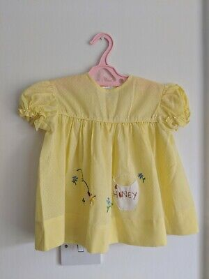 RETRO CUTE vtg 1960s YELLOW EMBROIDERED SMOCK BABY TOP AGE 12 MONTHS HONEY BEE