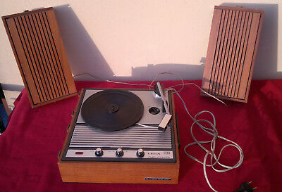 turntable stereo HI-FI vtg portable LESA MERCURIO with wooden suitcase