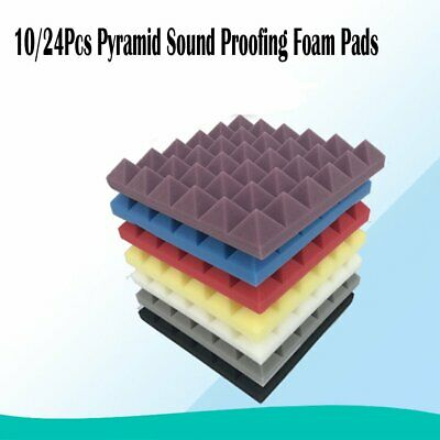 10/24Pcs 30X30CM Studio Acoustic Wall Panels Sound Proofing Foam Pads Treatments