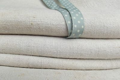 Antique French Linen Cloth Handwoven 19th century chanvre hemp Fabric yards