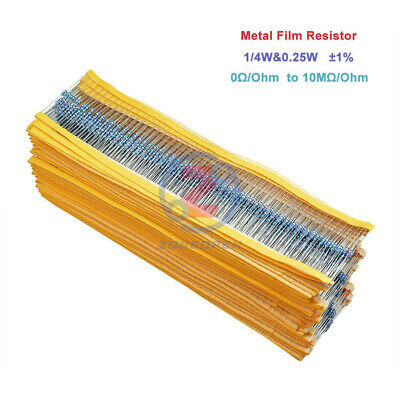 100PCS (0Ω to 10MΩ) 10K 100K Ohm 1/4W 0.25W Metal Film Resistor ±1% Resistance