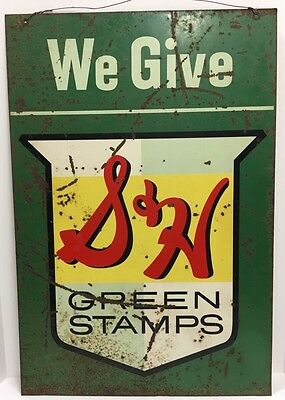 Original 50S S&H Green Stamps Metal Sign Stout Double-Sided
