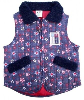 Girl's Quilted Padded Lined Waistcoat w/Faux Fur Collar NWT 6-12 or 18-24 months