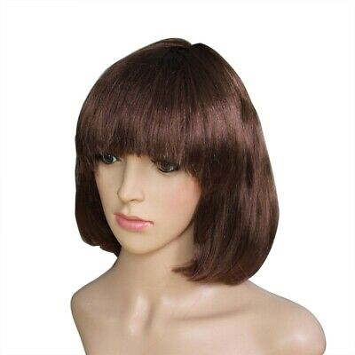 Brown BOB Short Straight Ladies Womens Wig Hairpiece Fancy Dress Cosplay CNO