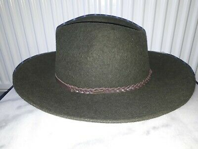 46809649da2 Barbour Tack Fedora Hat Olive Green Melange Wool Felt Size L 59cm New With  Tags