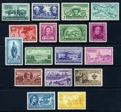 US . 1949-50 Commemorative Year Sets (981-997) . Mint Never Hinged