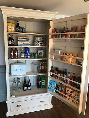 Solid Pine Victorian Kitchen Larder F&B Shaded White  *Delivery from £45