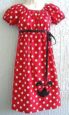 Lady Dress Minnie Head Applique Size S M L XL Multi-color Red Pink Handmade